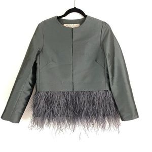 Lela Rose Dark Grey Ostrich Feather Satin Jacket 6